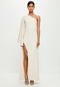 Peace + Love Nude One Shoulder Maxi Dress