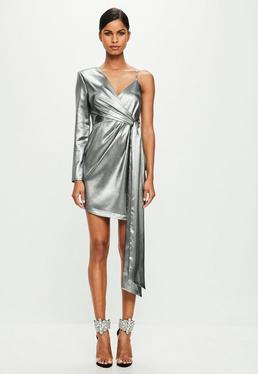 Peace + Love Silver Asymmetric Mini Dress