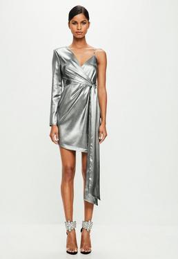 Peace + Love Srebrna asymetryczna sukienka mini