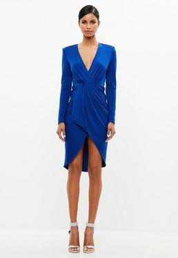 Peace + Love Blue Wrap Jersey Long Sleeve Midi Dress