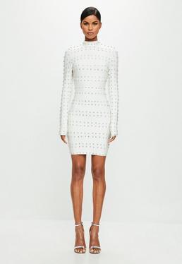 Peace + Love White High Neck Stud Mini Dress