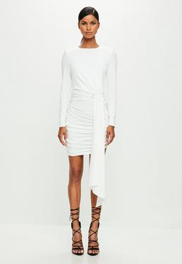 Peace + Love White Ruched Mini Dress