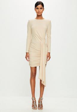 Peace + Love Nude Ruched Mini Dress