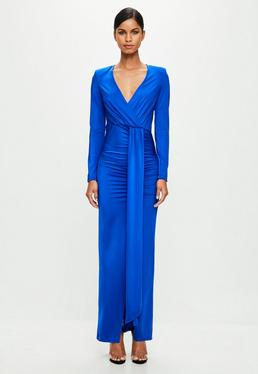 Peace + Love Blue Wrap Maxi Dress