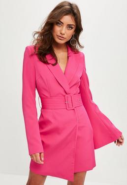 Pink Belted Flared Sleeve Blazer Dress