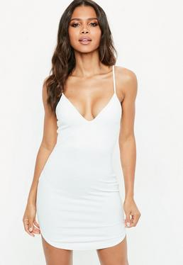 White Strappy Plunge Bodycon Dress