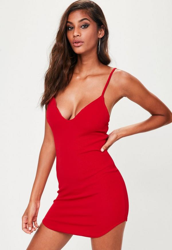 Red Strappy Plunge Bodycon Dress