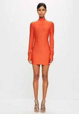 Peace + Love Orange Bandage Dress