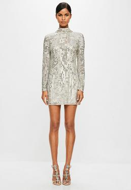 Peace + Love Sequin High Neck Sequin Dress