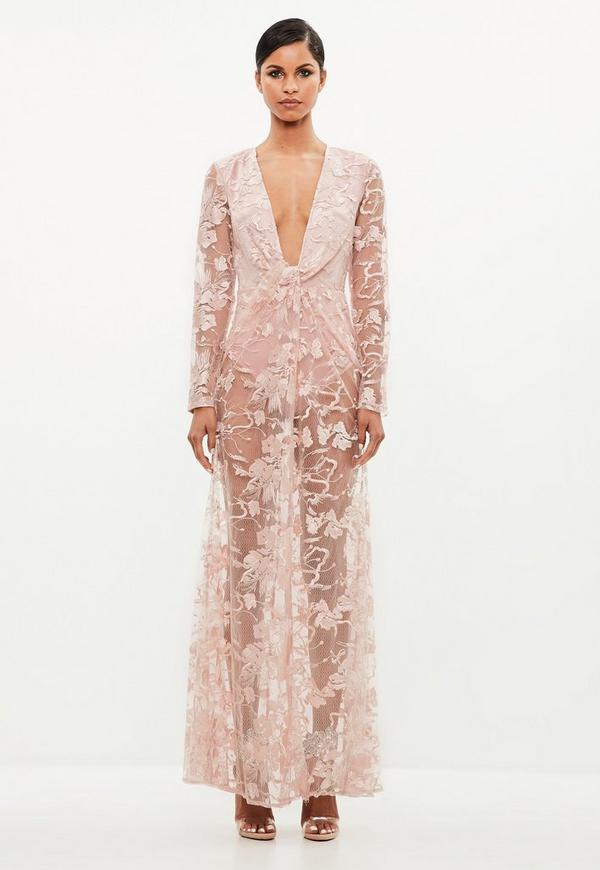 Peace Love Mauve Lace Twist Maxi Dress Missguided