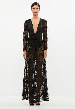Peace + Love Black Lace Twist Maxi Dress