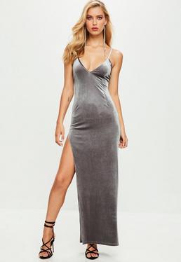 Gray Velvet Plunge Maxi Dress