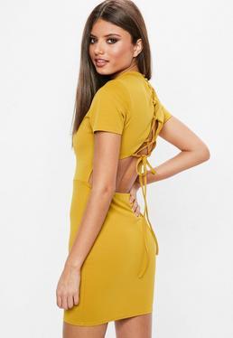 High Neck Lace Up Back Dress Mustard