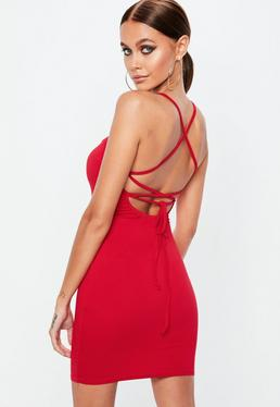 Red Strappy Cowl Dress