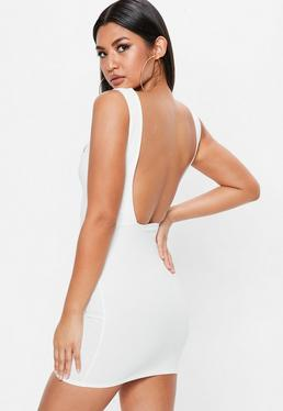White Open Back Mini Dress