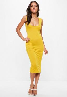 Yellow Jersey Square Neck Midi Dress