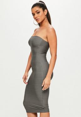Vestido ajustado palabra de honor bandage en gris