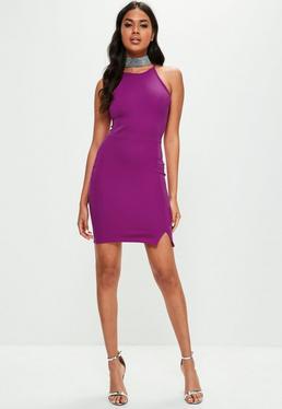 Purple 90's Neck Split Hem Dress