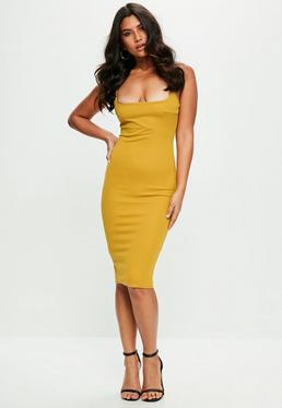 Yellow Strappy Midi Dress