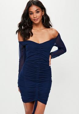 Navy Mesh Bardot Ruched Front Bodycon Dress