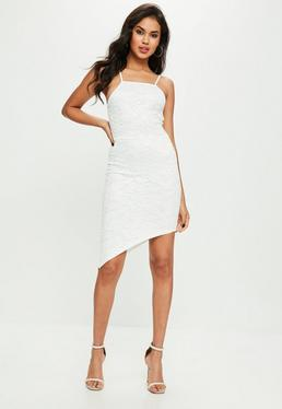 White Lace Asymmetrical Midi Dress