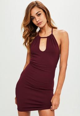 Purple Keyhole Halterneck Bodycon Mini Dress