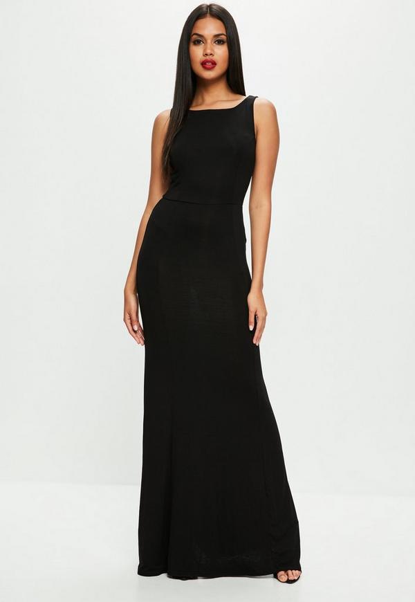 Black scoop back maxi dress