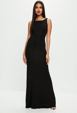 Vestido largo sin mangas con espalda descubierta en negro