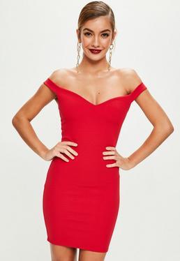 Red Sweetheart Bardot Dress