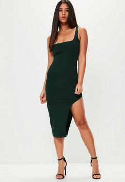 Green Sleeveless Square Neck Midi Dress