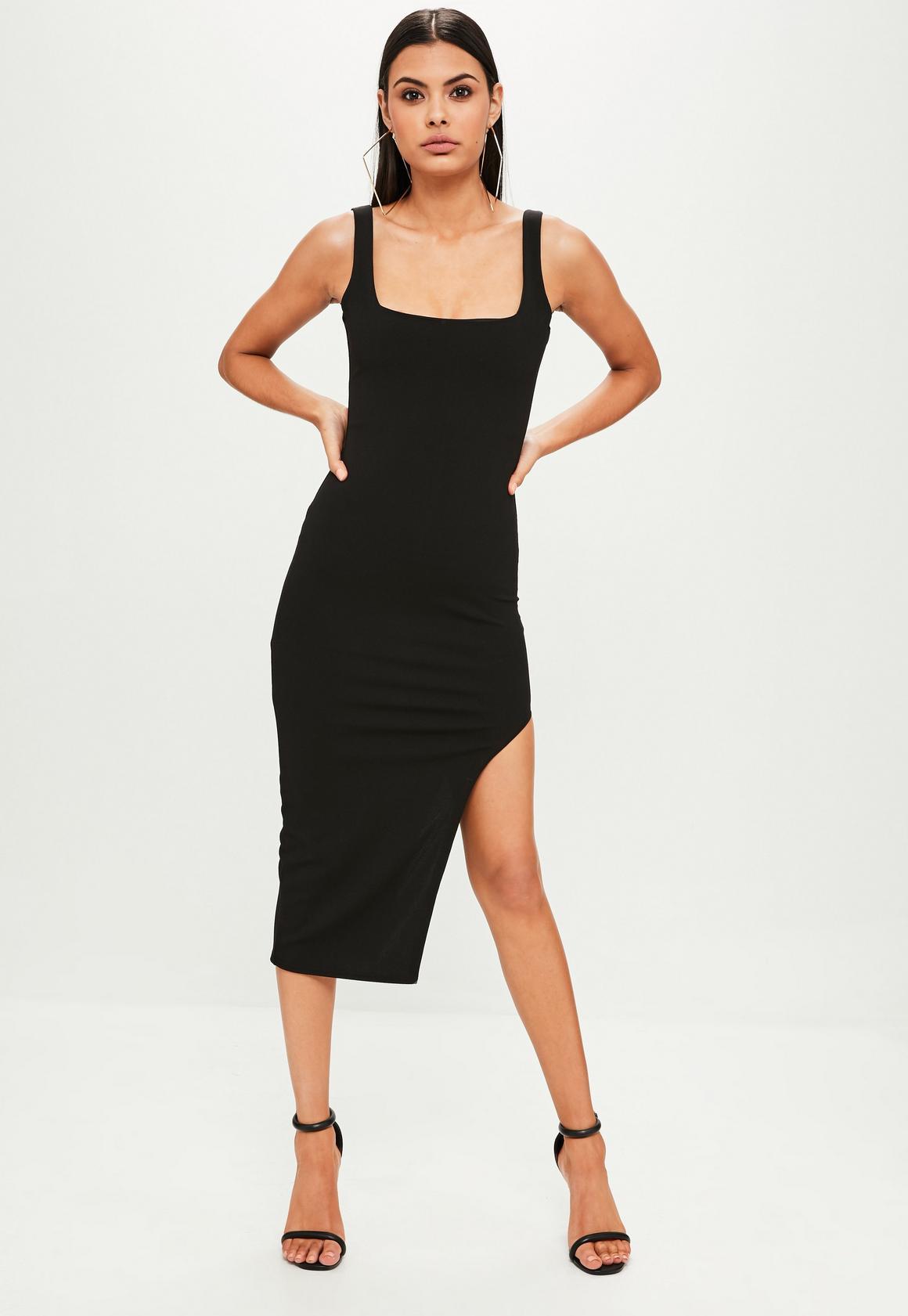 Black Sleeveless Square Neck Midi Dress | Missguided