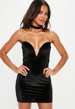 Black Bandeau Velvet Bodycon Dress