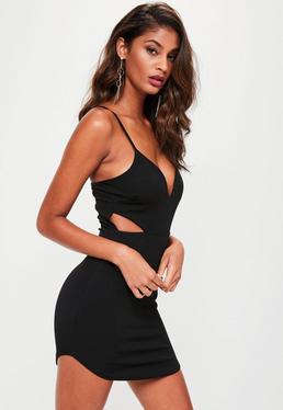 Black Strappy Plunge Dress