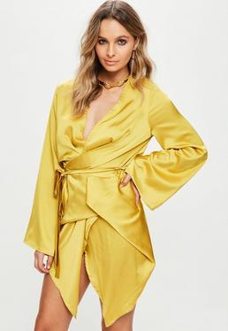 Yellow Silky Kimono Shift Dress