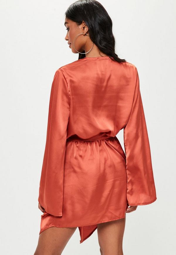 Orange Kimono Sleeve Shift Dress | Missguided
