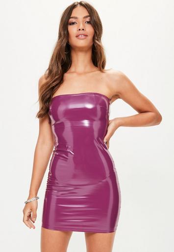 Purple Vinyl Bodycon Dress Missguided