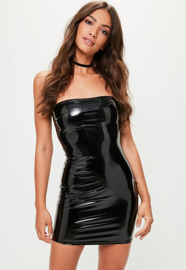Black Vinyl Bodycon Dress Missguided