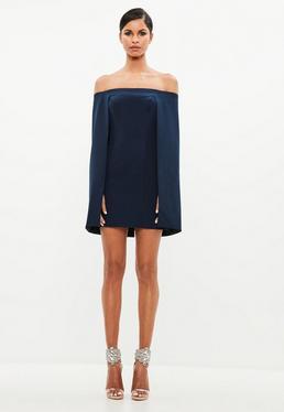 Peace + Love Navy Bardot Cape Mini Dress