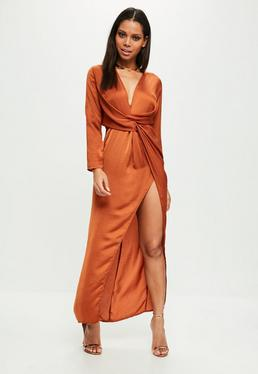 Orange plunge wrap front maxi dress