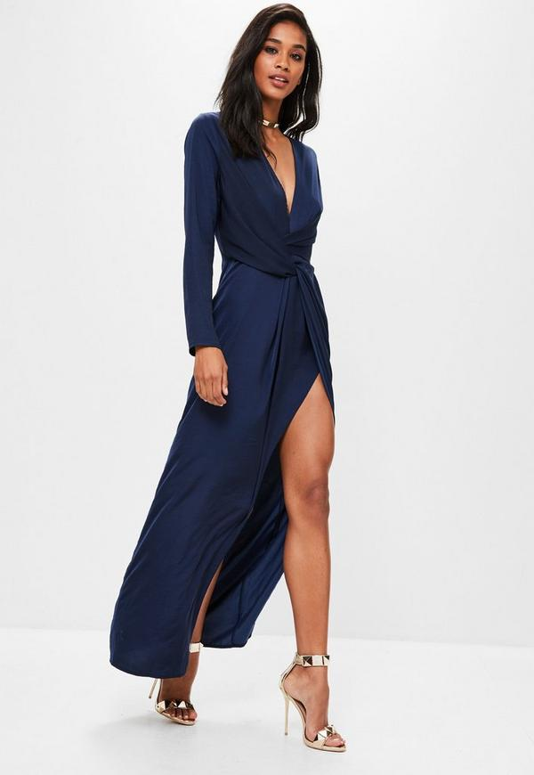 Navy Wrap Front Maxi Dress Missguided