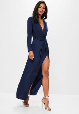 Vestido largo estilo camisa cruzado en azul marino