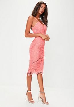 Pink Lace Ladder Detail Midi Dress