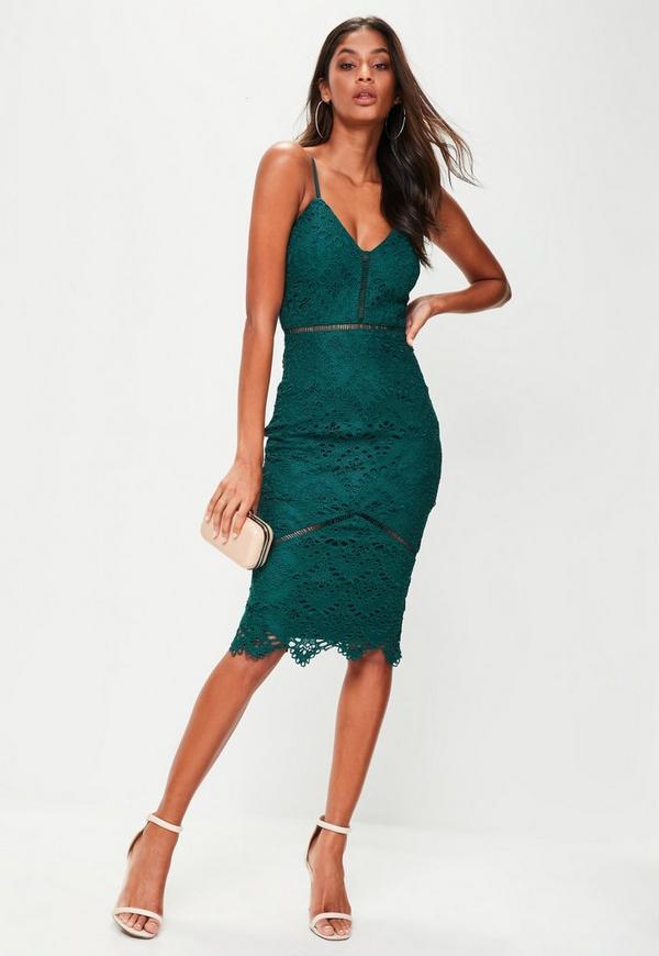 Zielona Koronkowa Sukienka Midi Missguided