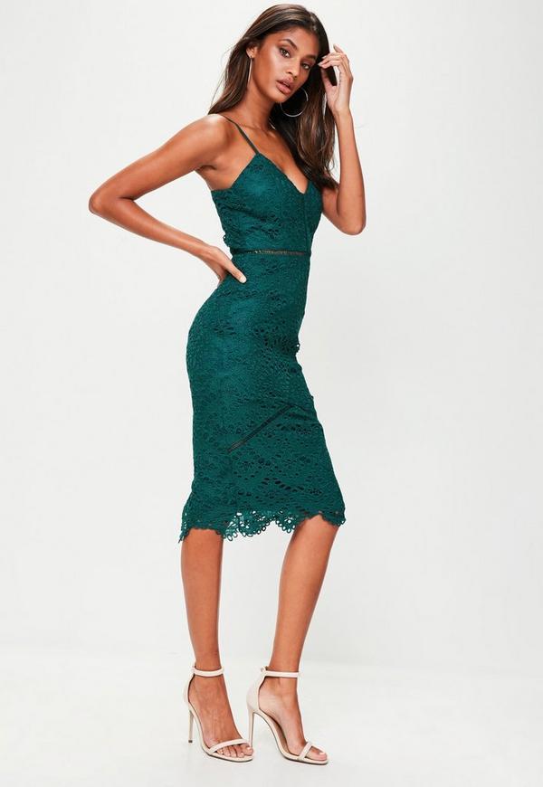 Green Lace Ladder Detail Midi Dress Missguided