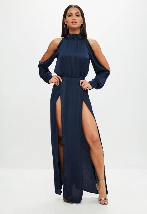 Product photo of Navy split front maxi dress blue