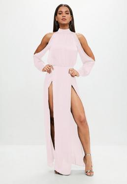 Pink Split Front Sleeve Maxi Dress