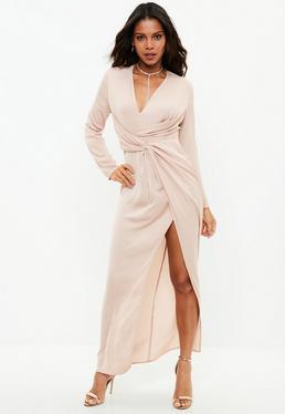 Vestido camisero largo con frontal cruzado en rosa