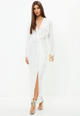 Kremowa zawijana sukienka maxi
