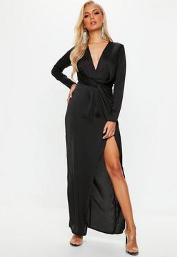 Black plunge wrap front maxi dress