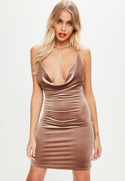 Brown Velvet Cowl Front Mini Dress
